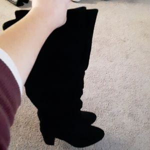 Knee blk boots, suede leather